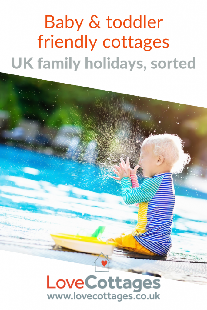 Pinterest graphic - toddler splashing in pool. How to find baby and toddler friendly cottages. Baby friendly boltholes for family holidays in the UK