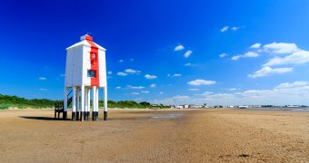 Wooden Lighthouse on the beach at Burnham On Sea, Somerset England UK